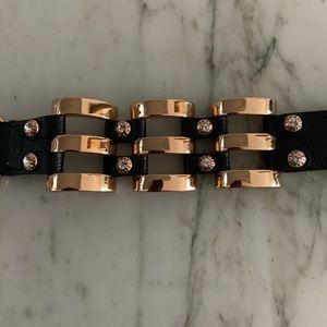 Henri Bendel Rose Gold/Black leather bracelet